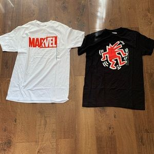 2 NWT men's size medium T-shirt's- marvel & haring